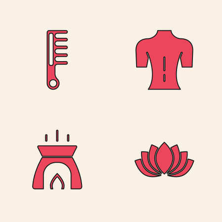 Set Lotus flower, Hairbrush, Massage and Aroma candle icon. Vector