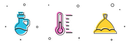 Set Essential oil bottle, Sauna thermometer and hat icon. Vector