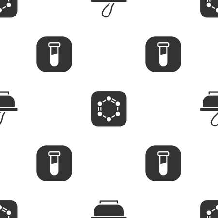 Set Mortar and pestle, Formula of benzene rings and Test tube flask on seamless pattern. Vector