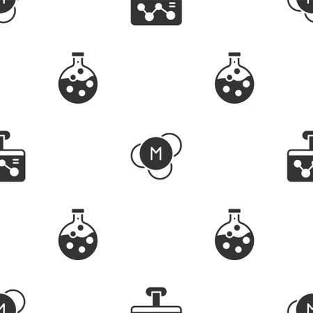 Set Chemical formula, Molecule and Test tube and flask on seamless pattern. Vector