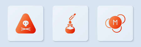 Set Test tube and flask, Triangle warning toxic and Molecule. White square button. Vector