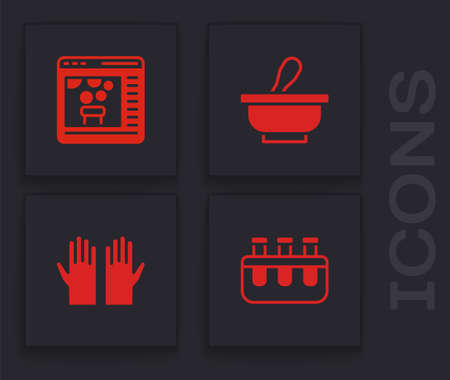 Set Test tube and flask, Chemical online, Mortar pestle and Medical rubber gloves icon. Vector