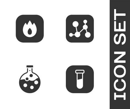 Set Test tube and flask, Fire flame, and Chemical formula icon. Vector Ilustracja