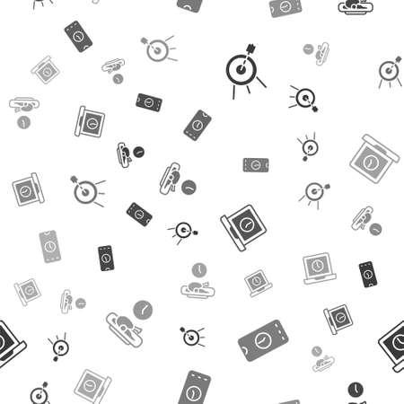 Set Target sport, Alarm clock app mobile, Laptop time and Food on seamless pattern. Vector 向量圖像