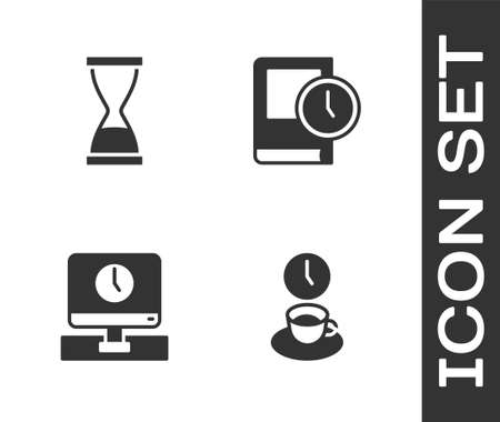 Set Coffee time, Old hourglass with sand, Monitor and Time for book icon. Vector