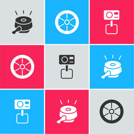 Set Bicycle bell, wheel and Action extreme camera icon. Vector Stock Illustratie