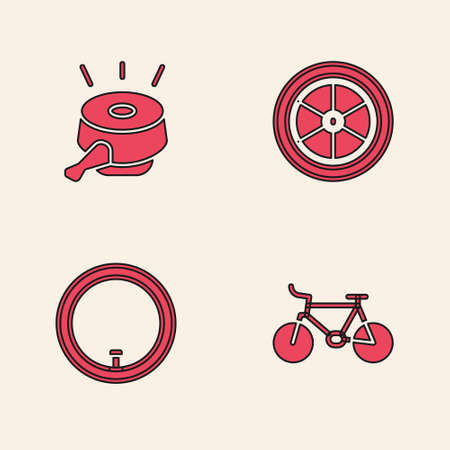 Set Bicycle, bell, wheel and icon. Vector Stock Illustratie