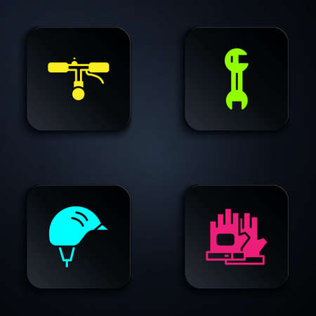 Set Gloves, Bicycle handlebar, helmet and Wrench spanner. Black square button. Vector