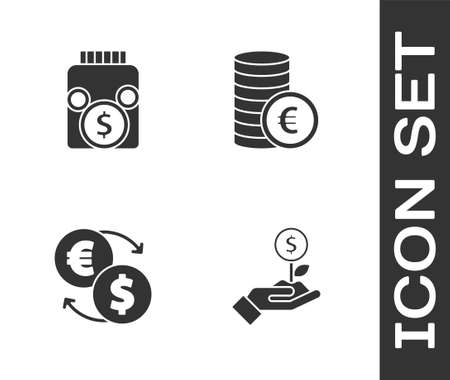 Set Dollar plant, Glass money jar with coin, Money exchange and Coin euro symbol icon. Vector