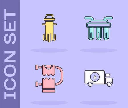 Set Plumber service car, Water filter, Heated towel rail and icon. Vector Ilustração