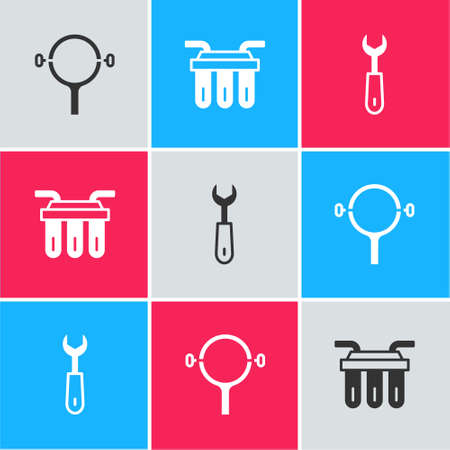 Set Filter wrench, Water filter and Wrench spanner icon. Vector
