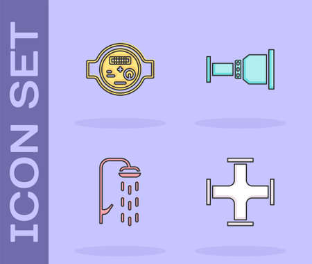 Set Industry metallic pipe, Water meter, Shower and Pipe adapter icon. Vector