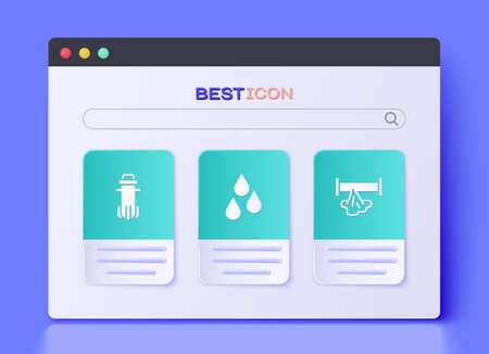Set Water drop, filter and Broken pipe icon. Vector