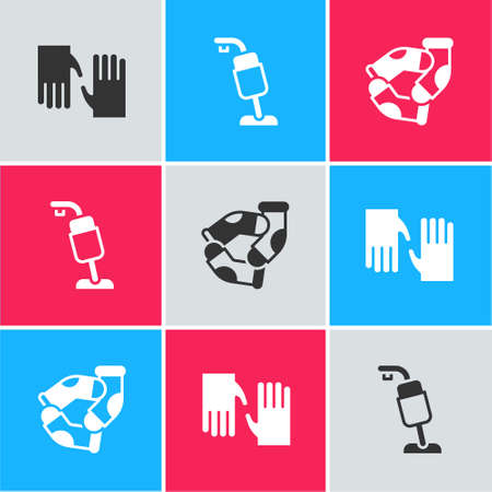 Set Rubber gloves, Vacuum cleaner and Socks icon. Vector Иллюстрация