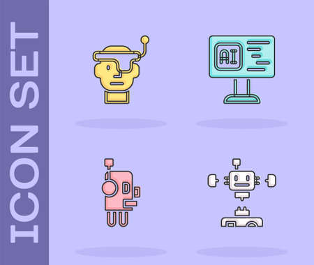 Set Disassembled robot, Smart glasses, Robot and Software icon. Vector
