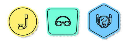 Set line Snorkel, Glasses and cap and Diving mask. Colored shapes. Vector