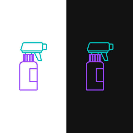 Line Hairdresser pistol spray bottle with water icon isolated on white and black background. Colorful outline concept. Vector