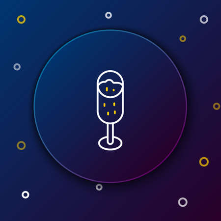 Line Glass of champagne icon isolated on blue background. Merry Christmas and Happy New Year. Colorful outline concept. Vector