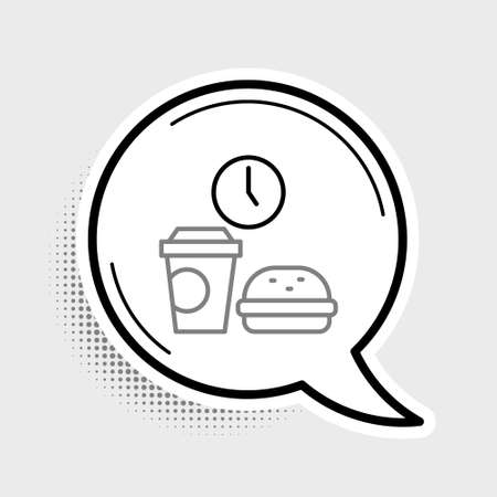 Line Fast food time icon isolated on grey background. Colorful outline concept. Vector