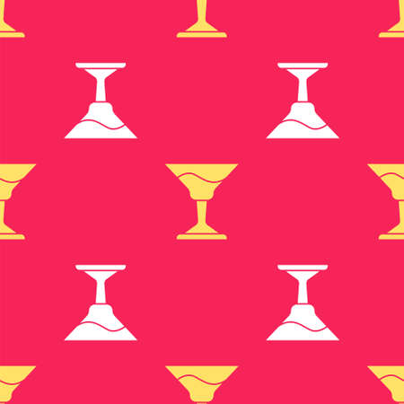 Yellow Cocktail icon isolated seamless pattern on red background. Vector