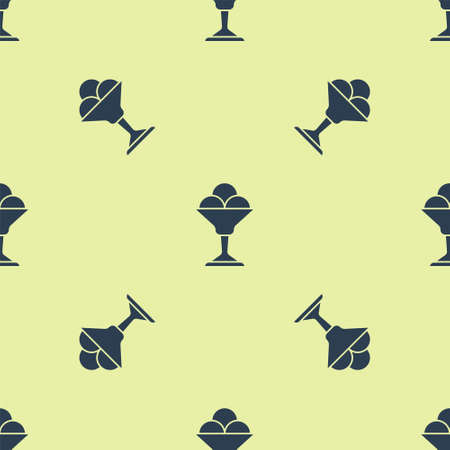 Blue Ice cream in the bowl icon isolated seamless pattern on yellow background. Sweet symbol. Vector