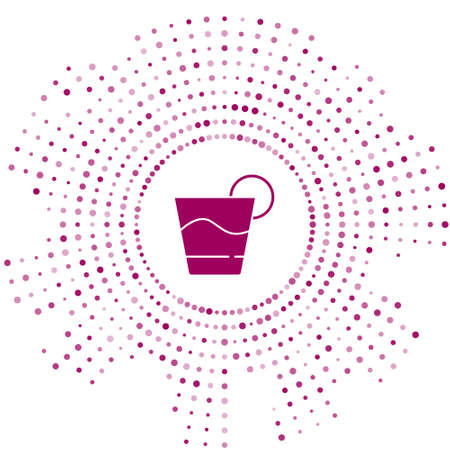 Purple Cocktail icon isolated on white background. Abstract circle random dots. Vector