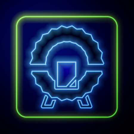 Glowing neon Memorial wreath icon isolated on blue background. Funeral ceremony. Vector 向量圖像