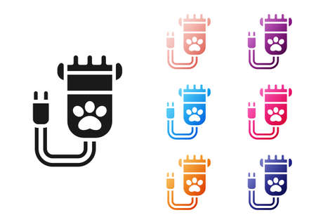 Black Hair clipper accessories for pet grooming icon isolated on white background. Set icons colorful. Vector