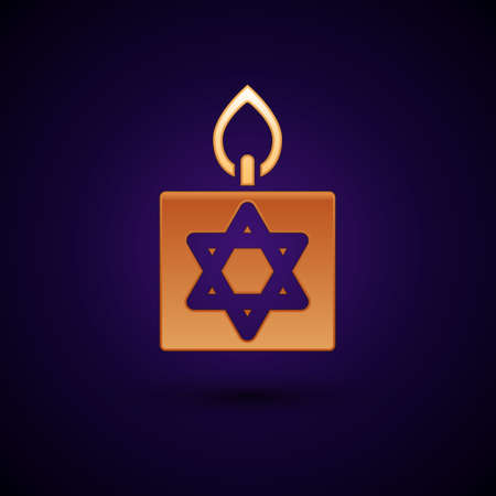 Gold Burning candle in candlestick with star of david icon isolated on black background. Cylindrical candle stick with burning flame. Vector