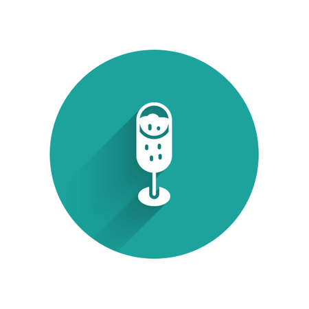 White Glass of champagne icon isolated with long shadow. Merry Christmas and Happy New Year. Green circle button. Vector