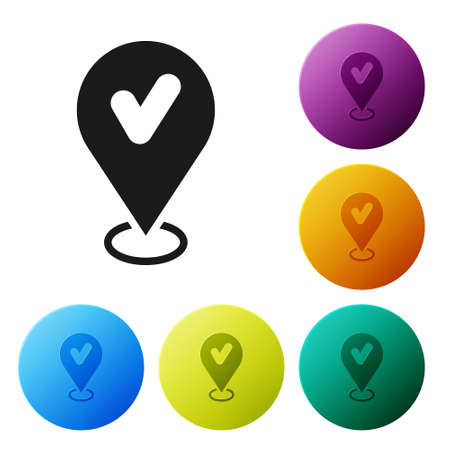 Black Map pin with check mark icon isolated on white background. Navigation, pointer, location, map, gps, direction, place, compass, search concept. Set icons in color circle buttons. Vector
