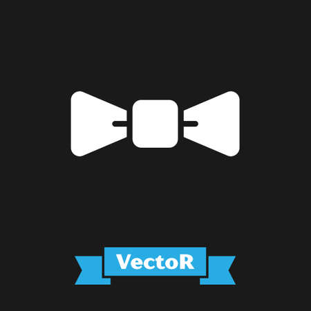 White Bow tie icon isolated on black background. Vector 向量圖像