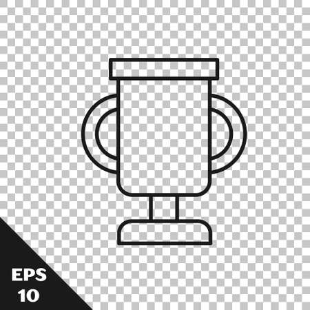 Black line Award cup with bicycle icon isolated on transparent background. Winner trophy symbol. Championship or competition trophy. Sports achievement. Vector