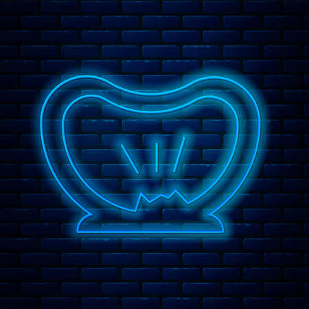 Glowing neon line Bicycle punctured tire icon isolated on brick wall background. Bike race. Wheel tire air. Sport equipment. Vector
