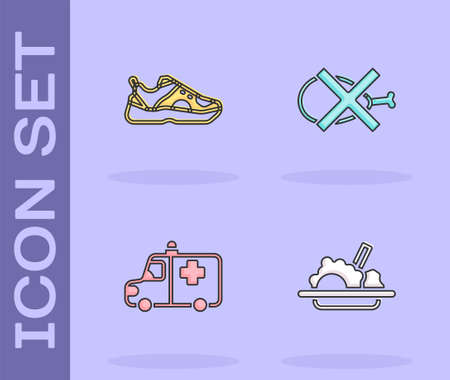 Set Healthy food, Sport sneakers, Ambulance and emergency car and No meat icon. Vector