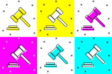 Set Judge gavel icon isolated on color background. Gavel for adjudication of sentences and bills, court, justice. Auction hammer. Vector
