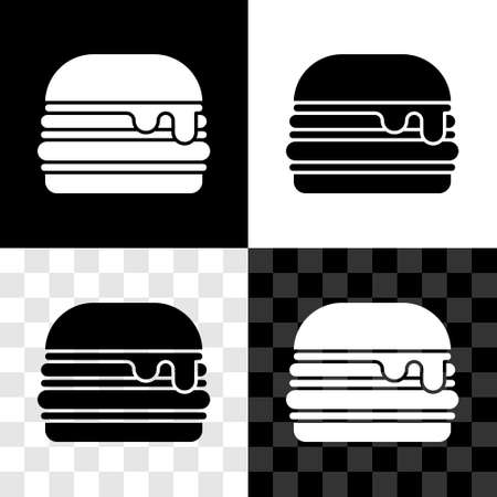 Set Burger icon isolated on black and white, transparent background. Hamburger icon. Cheeseburger sandwich sign. Fast food menu. Vector