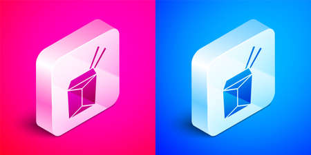 Isometric Asian noodles in paper box and chopsticks icon isolated on pink and blue background. Street fast food. Korean, Japanese, Chinese food. Silver square button. Vector