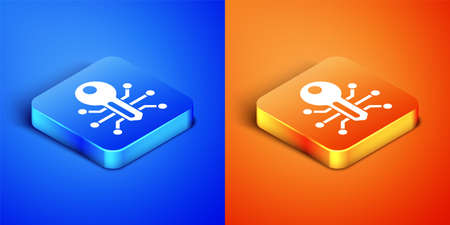 Isometric Smart key icon isolated on blue and orange background. Square button. Vector