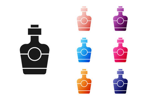 Black Tequila bottle icon isolated on white background. Mexican alcohol drink. Set icons colorful. Vector