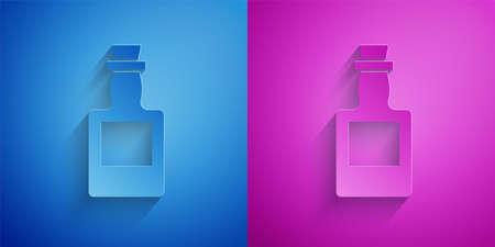 Paper cut Tequila bottle icon isolated on blue and purple background. Mexican alcohol drink. Paper art style. Vector