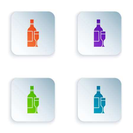 Color Champagne bottle with glass icon isolated on white background. Set colorful icons in square buttons. Vector