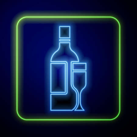 Glowing neon Champagne bottle with glass icon isolated on blue background. Vector Stock Illustratie