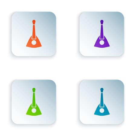 Color Musical instrument balalaika icon isolated on white background. Set colorful icons in square buttons. Vector Ilustração