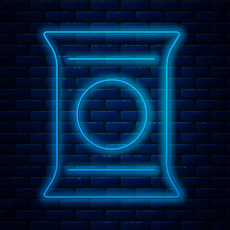 Glowing neon line Bag or packet potato chips icon isolated on brick wall background. Vector