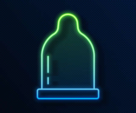 Glowing neon line Condom icon isolated on blue background. Safe love symbol. Contraceptive method for male. Vector