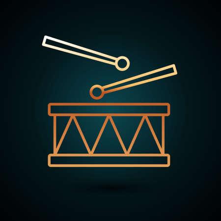 Gold line Drum with drum sticks icon isolated on dark blue background. Music sign. Musical instrument symbol. Vector Ilustração