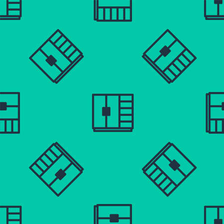 Blue line Wardrobe icon isolated seamless pattern on green background. Vector