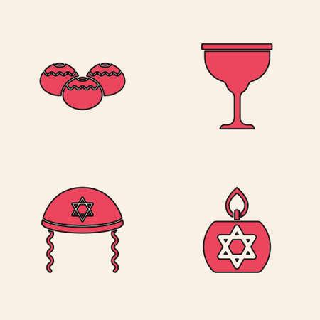 Set Burning candle, Jewish sweet bakery, goblet and kippah icon. Vector 向量圖像