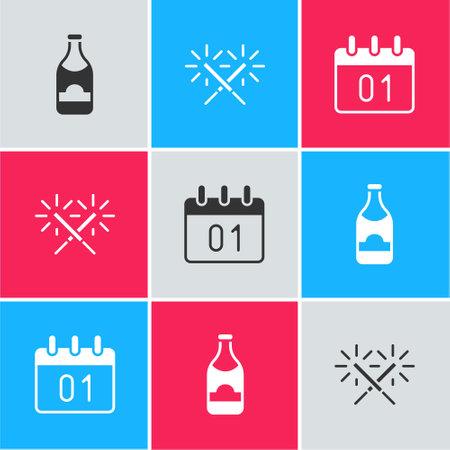 Set Champagne bottle, Sparkler firework and Calendar icon. Vector